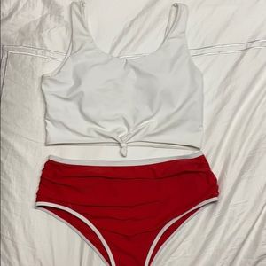 Women's high waisted two piece bathing suit